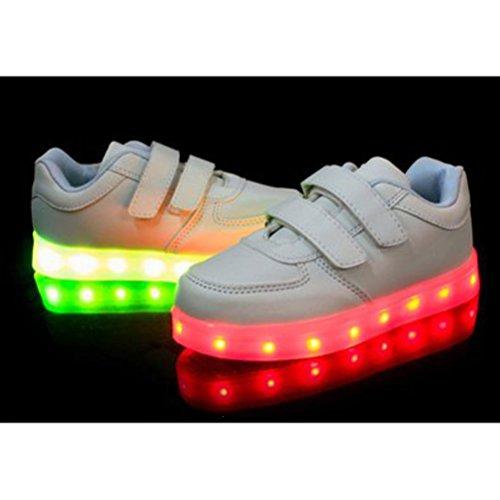 (Présents:petite serviette)JUNGLEST® 7 couleurs Kid Garçon Fille de recharge USB Chaussures LED Light Up Sport lumineux cl Blanc