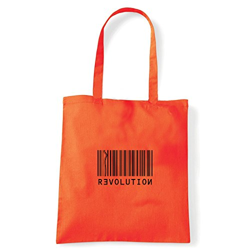Art T-shirt, Borsa Shoulder Revolution, Shopper, Mare Arancio