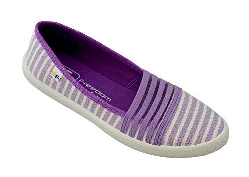 3f freedom for feet donne ragazze slip-on scarpe da donna bella moda calzature sportive scolastiche - scarpe da ginnastica chiuse ballerina con strisce diversi modelli 36-41 (38, viola 5lb-gŻ/5)