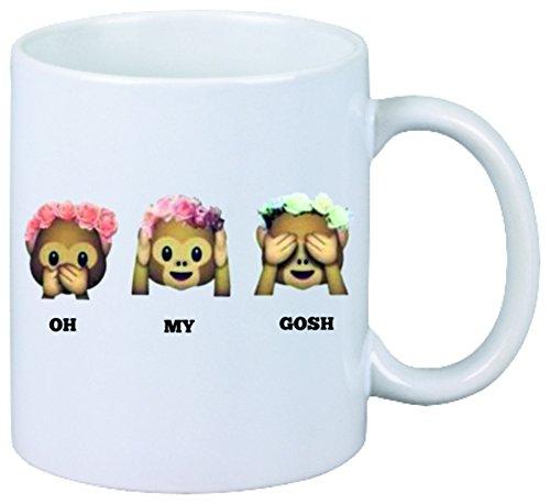 "Tazza ""Three Monkeys donne Oh My Gosh con rose"" Ceramica - Dimensioni: Ø8,5 H 9,5 cm - Tazza di Caffè - Coffee- Smiley - Emoji - Punte di Natale"