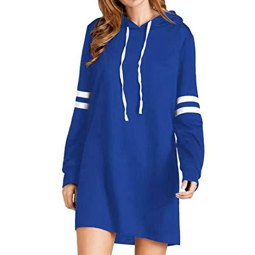 (NPRADLA 2018 Herbst Damen Hoodie Langarm Lange Sweatshirt Jumper Pullover Kleid (M/46, Blau))