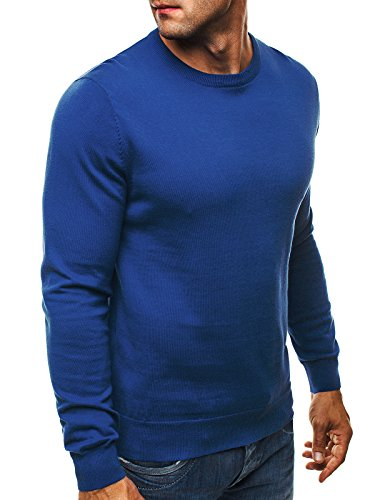 OZONEE Herren Pullover Feinstrick Sweatshirt Pulli NEW MEN 9020 Blau