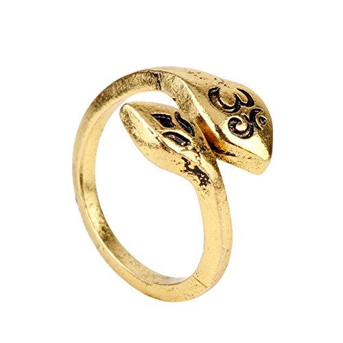 Fengteng Gold Farbe Gravur Om Zeichen Ring Verstellbarer Lotus Ring Aum und  Lotus Petal Wrap- 707de19c73