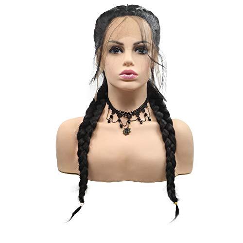 Schwarze Perücke, doppelt geflochten, handgefertigt, mit Babyhaar 1B# Synthetisches Haar, 2 geflochtene Zöpfe, Lace-Front-Perücke, für Frauen Party (Geflochtene Schwarz Perücke)