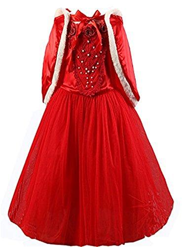 (Kosplay Mädchen Prinzessin Kostüm Eiskönigin Kleid für Mädchen Schmetterling Karneval Verkleidung Party Cosplay Faschingskostüm Festkleid Weinachten Halloween Fest Kleid, Rot, Gr. 100)