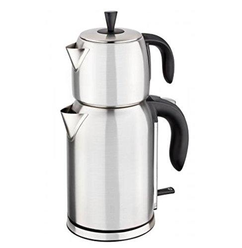 Elektirscher Teekocher Caymatik Teekanne Teemaschine Teebereiter Wasserkocher 2200 Watt 2,7 Liter (Silber)