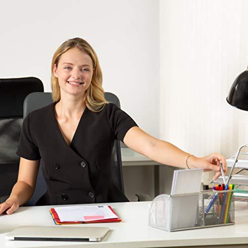 Relaxdays Schreibtischorganizer 6 Ablagen, kompakter Büroorganizer, Metall, Schublade, Zettehalter, Stifteköcher, silber - 2