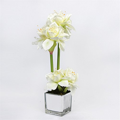 Mesmj Artificial Flowers Orchidhome Decorbouquetssilver Platedglass Vase, White Green