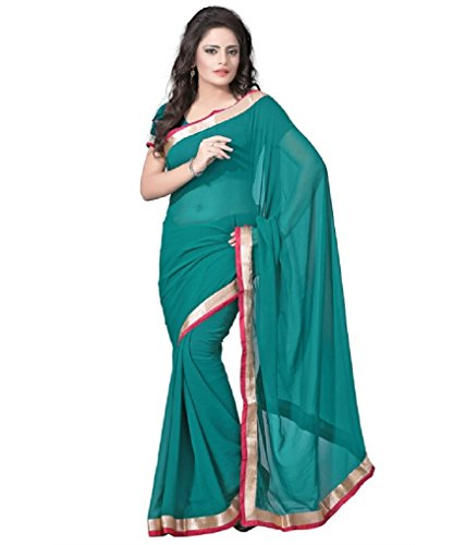 RockChin Fashions Green Semi Chiffon Border Work Saree  available at amazon for Rs.178