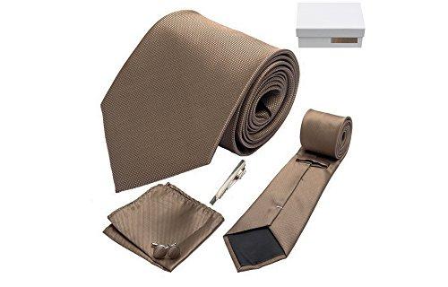 Coffret Gibraltar - Cravate marron bronze, boutons de manchette, pince à cravate, pochette de costume
