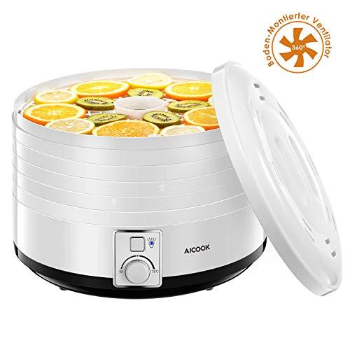 aicook Elek tirscher Deshidratador, silencioso Deshidratador con control de temperatura 40–70ºC para carne, frutas, verduras y frutos secos, 5secar cuencos apilables, libre de BPA & Lavavajillas