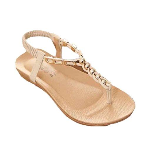 Ularma Damen Flache Sandalen aus PU Leder Rubber Sohle Lässige Schuhe Beige