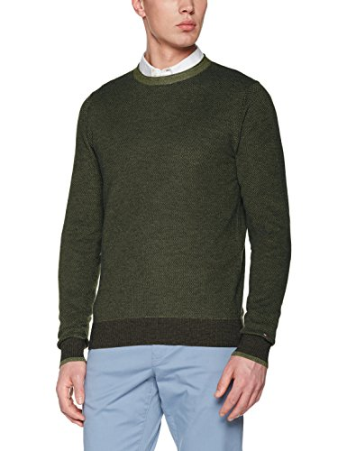 Tommy Hilfiger Herren Sweatshirt Textured Two Colour C-NK CF, Grün (Four Leaf Clover Htr 317), X-Large (Hilfiger-crewneck Tommy)