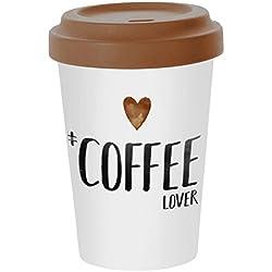 PPD Taza de Café para llevar taza TO GO Taza de Fibras de Bambú con Tapa 'Coffee Lover' 400 ml