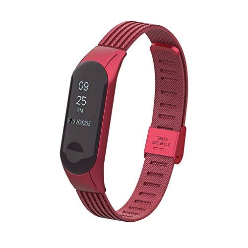 Upxiang Ersatzarmband für Xiaomi Mi Band 3, Smart Watch Armband Mehrfarbig Edelstahl Sport Uhrenarmband Bracelet - Herren-erweiterbar-uhr Bänder