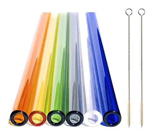 safe2bio Germany Premium Strohhalme aus Glas, farbig 6er Set inkl. 2 Reinigungsbürsten, Trinkhalm 20 cm x 8 mm, Trinkhalme sind handgefertigt, Wiederverwendbar und umweltschonend (gerade)