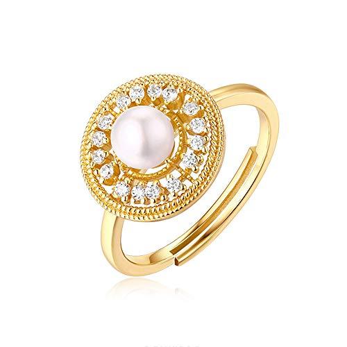 YOLANDE Frauen S925 Sterling Silber 9K Gelbgold Krone Perle offenen Ring Engagement Eheringe für Frauen
