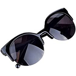 Luomike Sonnenbrille Katzenauge Semi-Rim Runde Sonnenbrille für Männer Frauen Sonnenbrille (B)
