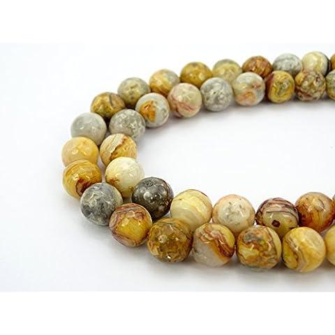 jennysun2010naturale pietra rotonda sfaccettata, perle 4mm, 6mm, 8mm, 10mm, 12mm, 1filo per borsa per braccialetto collana orecchini gioielli artigianato design guarigione, Crazy pizzo agata, 4 mm
