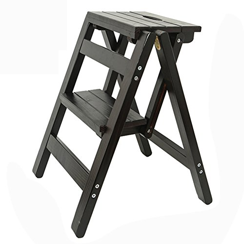 Qivor 2 Schritt-Fester hölzerner Leiter-Schritt-Schemel, Haushalts-Multifunktions-faltender Treppen-Stuhl für Erwachsene Kinder, Küche-bewegliches Innenblumengestell/Schuhbank/Speicher-Regal, 38x4 - 4 Regal-speicher-speisekammer