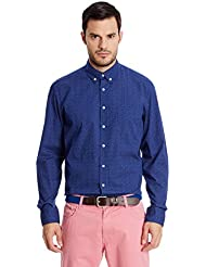 Hackett London Two Colour Polka Dot -  Camisa casual para hombre, color Azul Marino