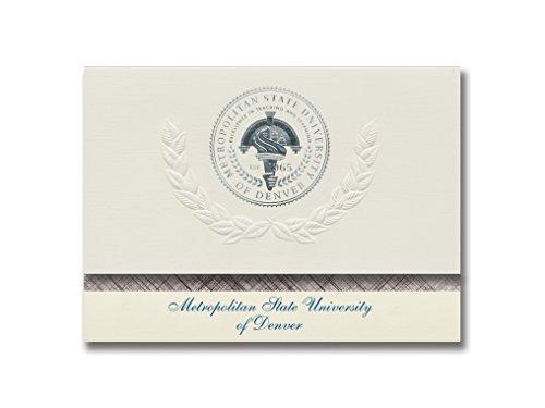 Signature Ankündigungen Metropolitan Staatliche Universität von Denver Abschluss Ankündigungen, platin Stil, Basic Pack 20mit Metropolitan State College Seal Folie