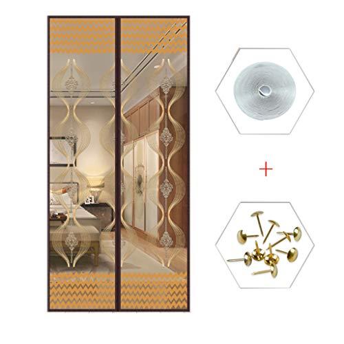 BYCDD Insektenschutz Vorhang, Automatisch Verschließen TüRvorhang Magnetic Mesh Vorhang Funktioniert für Kellertür Und Terrassentür,Coffee A_36x88in/90x220CM