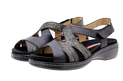 PieSanto Chaussure Femme Confort en Cuir 1813 Sandales à Semelle Amovible Confortables Amples Noir