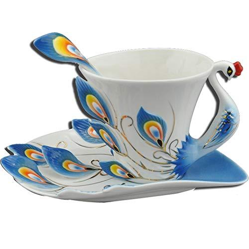 Becher Kaffeetassen Tassen Emaille Farbe Knochen Keramik Pfau Tasse Kaffeetasse Teller Löffel Valentinstag Paar Tasse Hochzeit Geburtstag Kreatives Geschenk