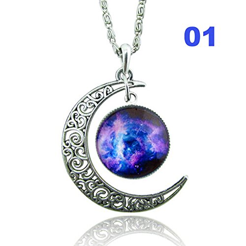 Hykis Vintage Look Moon Galaxy Glass Cameo Cabochon Demo Universe Pendant Necklace [ 1 ]