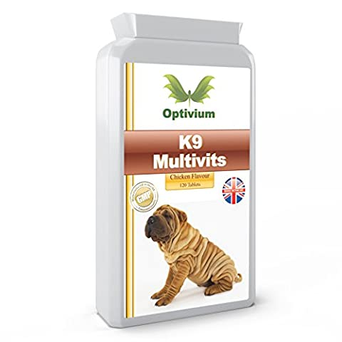 BEST K9 MULTIVITAMINS & MINERALS FOR DOGS. x 120 tablets. Provides daily nutrient requirements for your pet. Yummy chicken flavour. Human grade ingredients. Quality Assured - 100% Satisfaction. UK Manufactured.