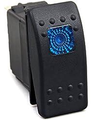 12V 20A 24V 10A Interruptor Led Azul Impermeable 3 Pin para Barco Coche