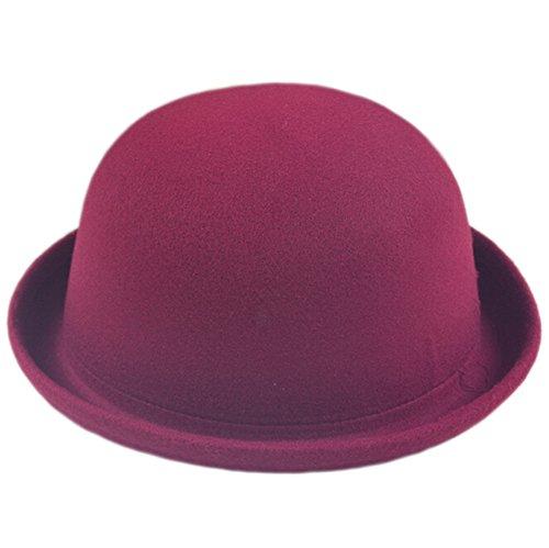 DELEY DELEY Damen Mädchen Filz Hut Wolle Hipster Retro Billycock Derby Bowler Mütze Hats Dunkelrot