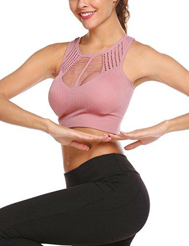Ekouaer Damen Push-up Sport-BH Fitness Bustier und Top Bra Seamless Weibliche Weste Laufende Unterwäsche für Yoga Fitness-Training Pink Lila