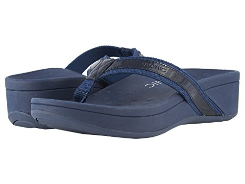 Vionic Women's High Tide Arch Support Thong Wedge Sandal (9 B(M) US, Navy/Black) -