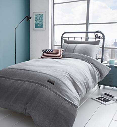 Catherine Lansfield Denim Easy Care Single Duvet Set Grey Best Price and Cheapest