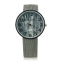 Smileyes Mens Fashion Gray PU Strap Buckle Quartz Analog Watch TSW011G.01A