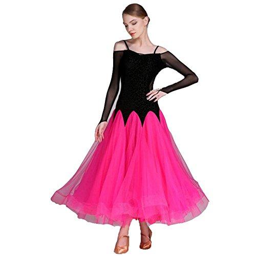 Kostüme Beschreibung Flamenco (OOARGE Damen Latin Dance Outfit Spitze Rüschen Langarm Kleid , roses red ,)
