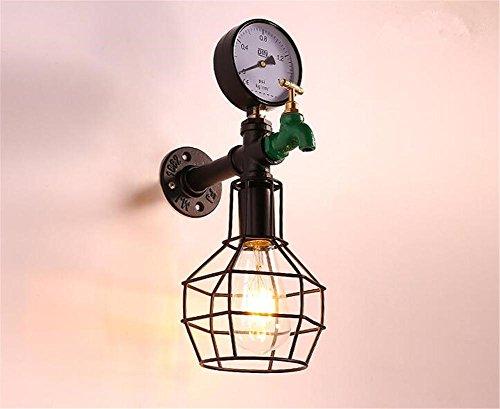 KDLD Wandleuchten ® Vintage Industrial Wall Sconce Lampe Iron Cage Wasserhahn Explosion-Proof 1 Lichter mit E27 Sockel für Wohnzimmer Schlafzimmer Dekoration (220V, Birnen nicht enthalten)