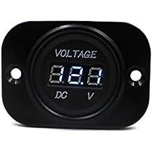 Tongshi Impermeable Coche Auto Motocicleta DC 12V 24V Digital Pantalla LED voltímetro medidor (Azul Luz)