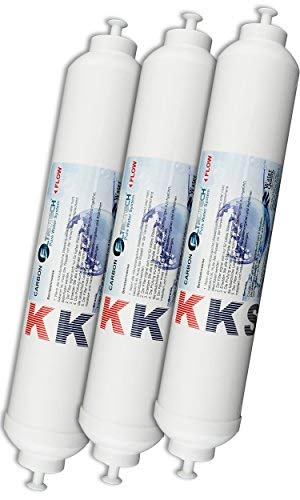 """KKS-3er Pack Wasserfilter für Side by Side Kühlschrank Samsung LG AEG Haier usw Externer Kühlschrankfilter mit integriertem 1/4"""" Schlauchanschluss Aktivkohle Filter"""