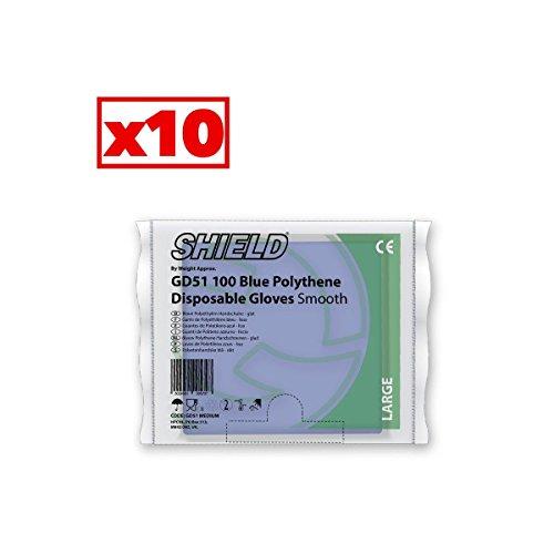 Guanti in polietilene liscia Blu Shield Taglia Unica L–Cartone Di 10bustine di 100–AQL–GD51_ 10
