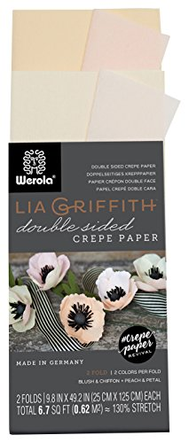 Lia Griffith Double Sided Crepe Paper Folds Roll, 6.7-Square Feet, Blush and Chiffon, Petal and Peach (LG11019)