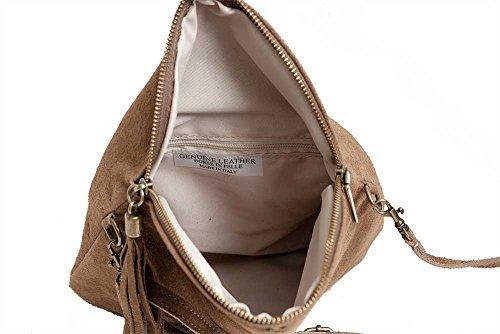 Pelle-messenger / Bag Borsa A Tracolla Da Echt.velour- / Camoscio, Taupe Minibag Italia