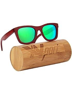 ynport crefreak al aire libre bamboon gafas de sol rojo marco de madera wayfrarer gafas gafas de sol para hombre...