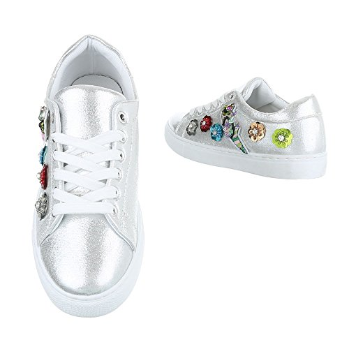 Sneakers Ital-design Basse Sneakers Da Donna Sneakers Basse Lacci Scarpe Casual Argento Fc-s29