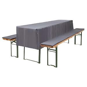 3 tlg bierzeltgarnitur auflagen set inkl tischdecke f r 70cm tische farbe anthrazit. Black Bedroom Furniture Sets. Home Design Ideas