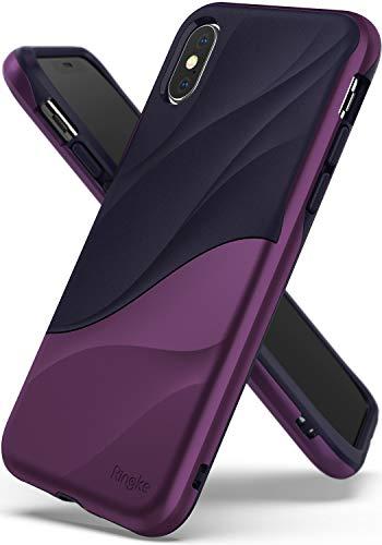 Ringke WAVE Custodia Compatibile con Apple iPhone XS, Salvaguardia Dello Strato TPU interno Morbido, Custodia Rigida per PC Pesante Assorbimento Design Fluente del Movimento Cover iPhone XS 5.8' 2018 - Metallic Purple