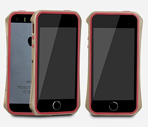 Aero 5 Alliage pare-chocs Téléphone portable étui cas pour Apple iPhone 5 / 5S - Nouveau Design de 2016 - Noir & Bleu Or & Rouge
