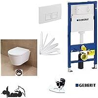 Geberit Duofix pretesto element, City Design al: 48cm Hausmarke WC Set completo + coperchio abbassamento automatico, con protezione acustica, Delta 50quadrato